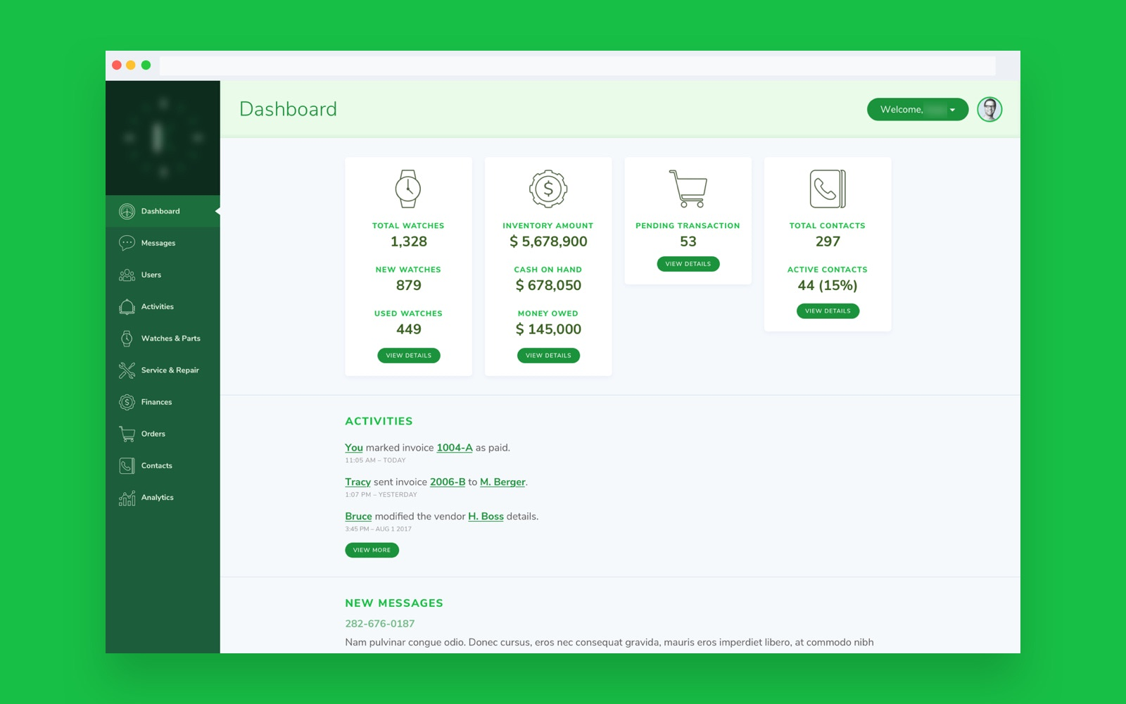 Sales & Inventory Dashboard for Watches